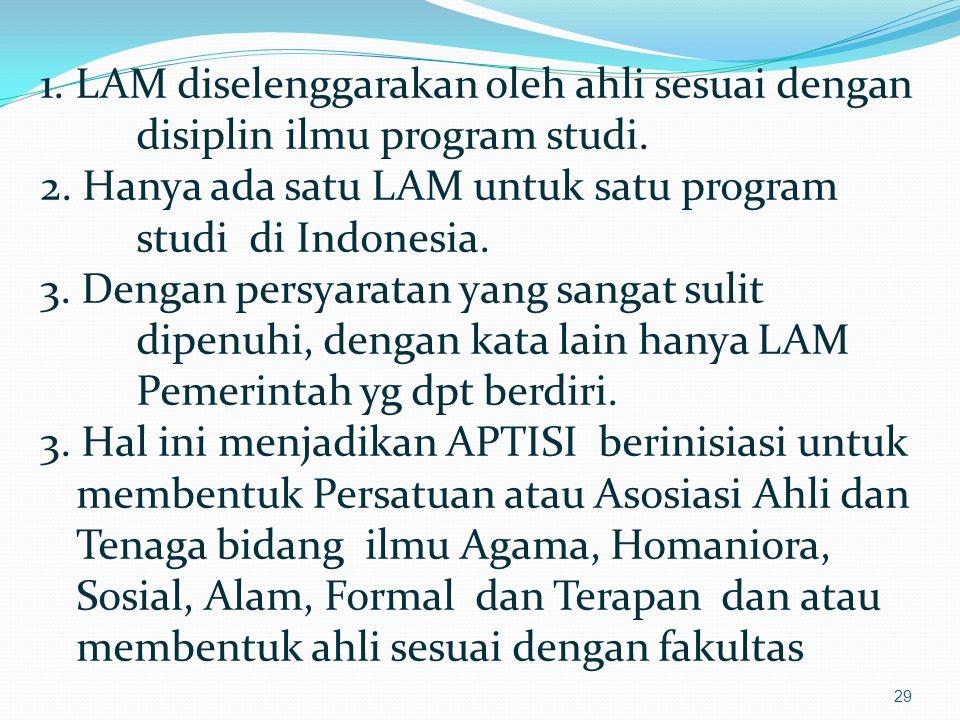29 1.LAM diselenggarakan oleh ahli sesuai dengan disiplin ilmu program studi.