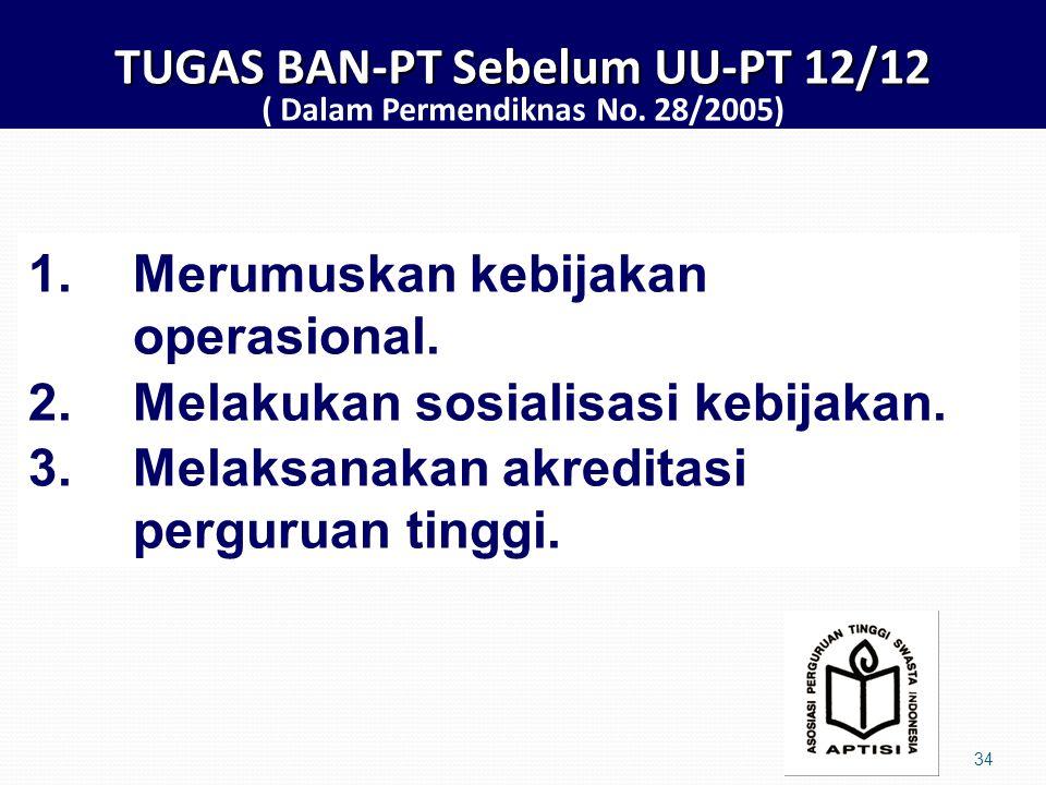 TUGAS BAN-PT Sebelum UU-PT 12/12 TUGAS BAN-PT Sebelum UU-PT 12/12 ( Dalam Permendiknas No.