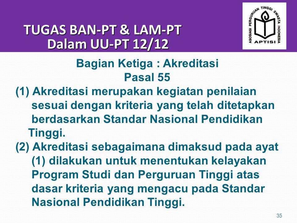 TUGAS BAN-PT & LAM-PT Dalam UU-PT 12/12 TUGAS BAN-PT & LAM-PT Dalam UU-PT 12/12 35 Bagian Ketiga : Akreditasi Pasal 55 (1) Akreditasi merupakan kegiatan penilaian sesuai dengan kriteria yang telah ditetapkan berdasarkan Standar Nasional Pendidikan Tinggi.