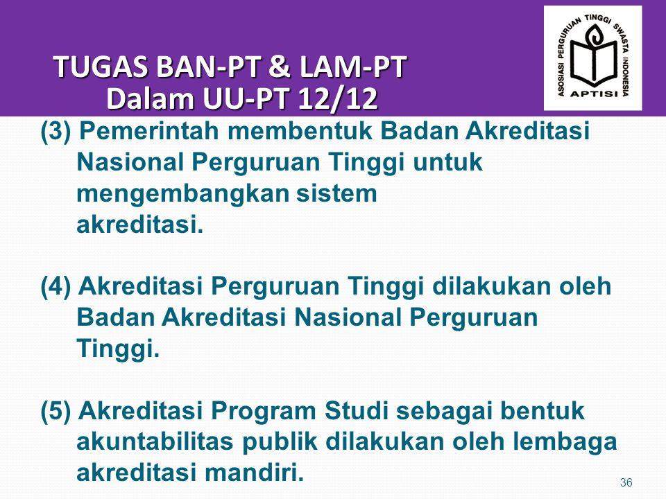 TUGAS BAN-PT & LAM-PT Dalam UU-PT 12/12 TUGAS BAN-PT & LAM-PT Dalam UU-PT 12/12 36 (3) Pemerintah membentuk Badan Akreditasi Nasional Perguruan Tinggi untuk mengembangkan sistem akreditasi.