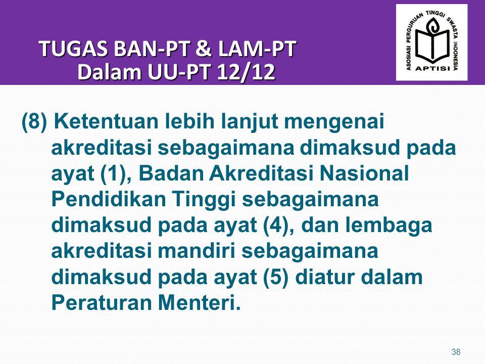 TUGAS BAN-PT & LAM-PT Dalam UU-PT 12/12 TUGAS BAN-PT & LAM-PT Dalam UU-PT 12/12 38 (8) Ketentuan lebih lanjut mengenai akreditasi sebagaimana dimaksud pada ayat (1), Badan Akreditasi Nasional Pendidikan Tinggi sebagaimana dimaksud pada ayat (4), dan lembaga akreditasi mandiri sebagaimana dimaksud pada ayat (5) diatur dalam Peraturan Menteri.
