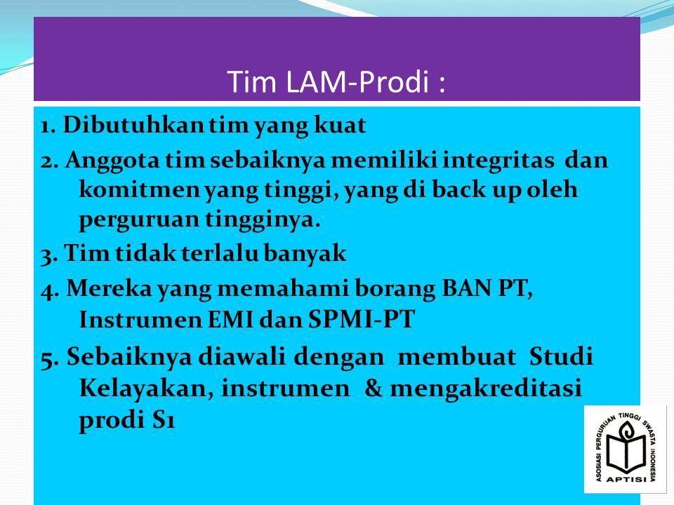 Tim LAM-Prodi : 1.Dibutuhkan tim yang kuat 2.