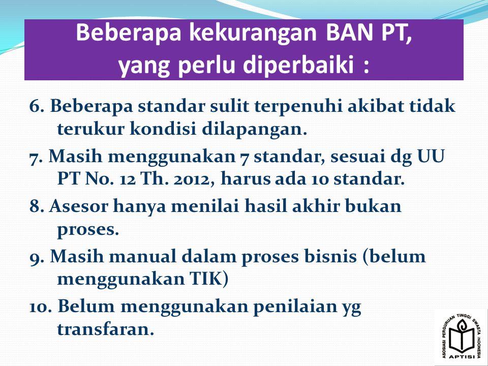 Beberapa kekurangan BAN PT, yang perlu diperbaiki : 6.