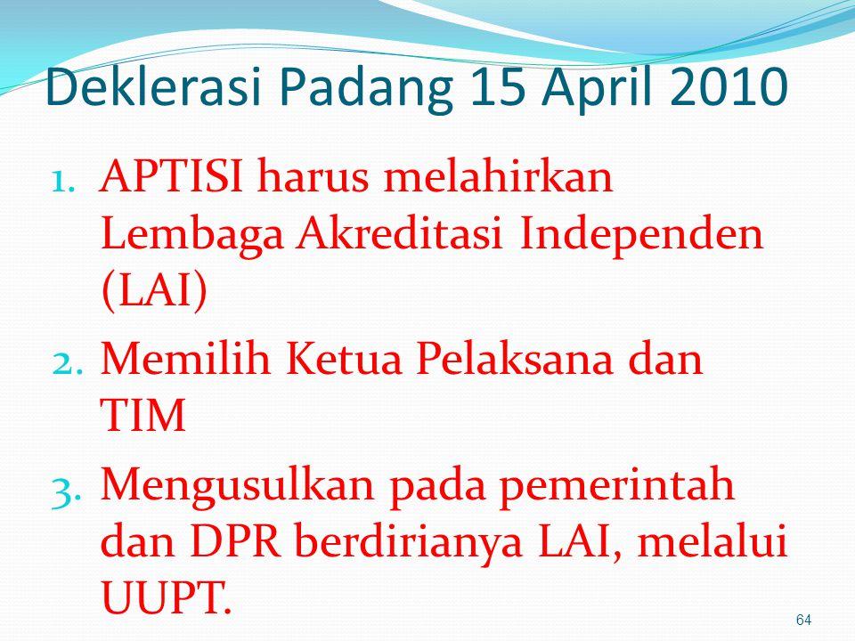 Deklerasi Padang 15 April 2010 1.APTISI harus melahirkan Lembaga Akreditasi Independen (LAI) 2.