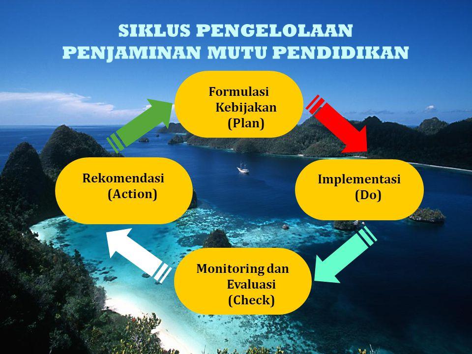 8 SIKLUS PENGELOLAAN PENJAMINAN MUTU PENDIDIKAN Formulasi Kebijakan (Plan) Implementasi (Do) Monitoring dan Evaluasi (Check) Rekomendasi (Action)