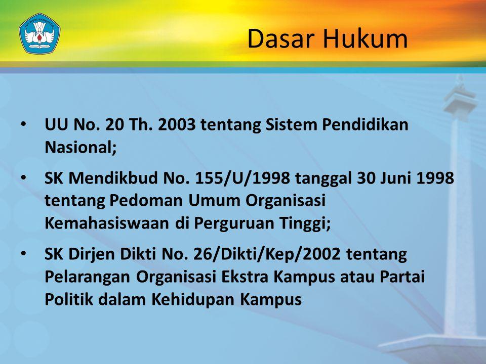 Dasar Hukum UU No. 20 Th. 2003 tentang Sistem Pendidikan Nasional; SK Mendikbud No. 155/U/1998 tanggal 30 Juni 1998 tentang Pedoman Umum Organisasi Ke