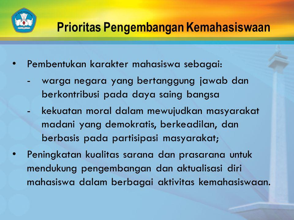 Prioritas Pengembangan Kemahasiswaan Pembentukan karakter mahasiswa sebagai: - warga negara yang bertanggung jawab dan berkontribusi pada daya saing b