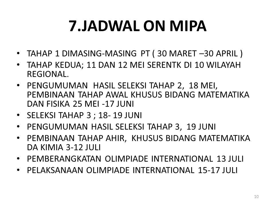 7.JADWAL ON MIPA TAHAP 1 DIMASING-MASING PT ( 30 MARET –30 APRIL ) TAHAP KEDUA; 11 DAN 12 MEI SERENTK DI 10 WILAYAH REGIONAL. PENGUMUMAN HASIL SELEKSI