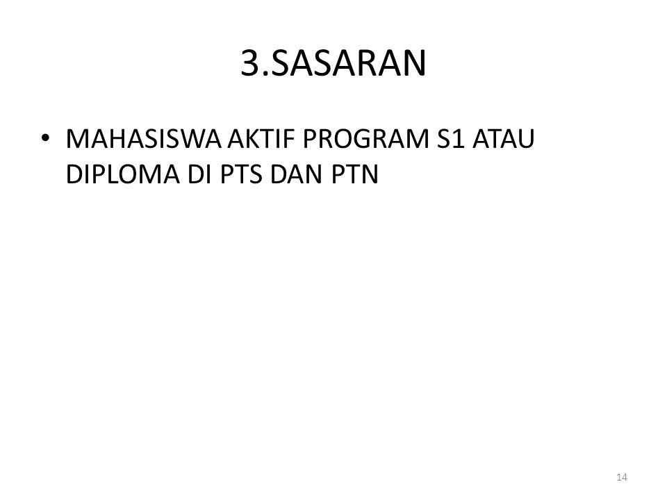3.SASARAN MAHASISWA AKTIF PROGRAM S1 ATAU DIPLOMA DI PTS DAN PTN 14