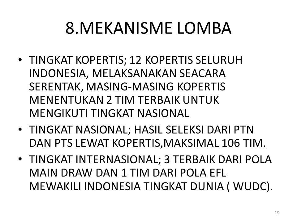 8.MEKANISME LOMBA TINGKAT KOPERTIS; 12 KOPERTIS SELURUH INDONESIA, MELAKSANAKAN SEACARA SERENTAK, MASING-MASING KOPERTIS MENENTUKAN 2 TIM TERBAIK UNTU