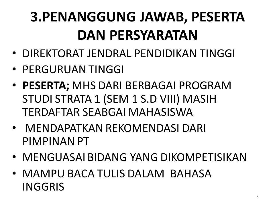 3.PENANGGUNG JAWAB, PESERTA DAN PERSYARATAN DIREKTORAT JENDRAL PENDIDIKAN TINGGI PERGURUAN TINGGI PESERTA; MHS DARI BERBAGAI PROGRAM STUDI STRATA 1 (S