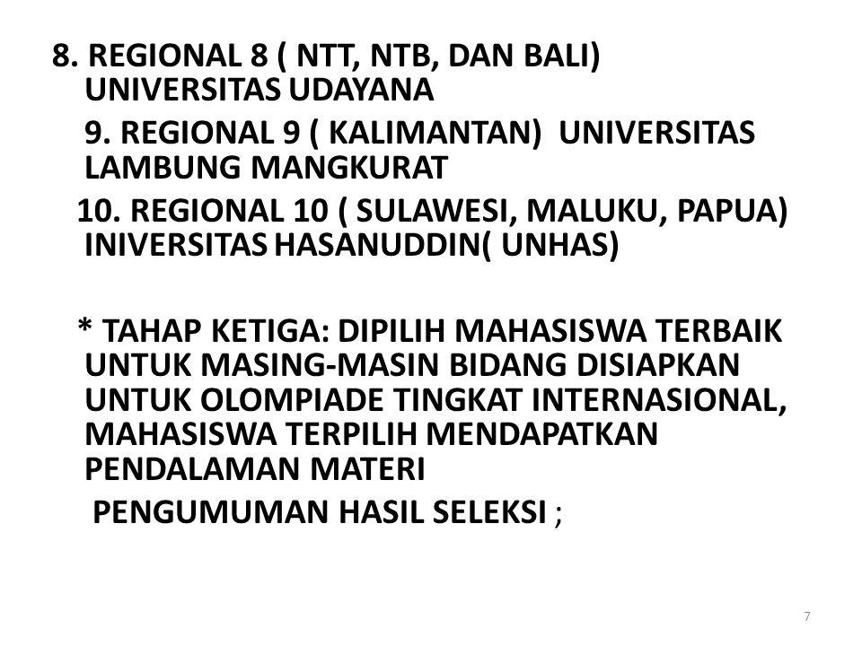 8. REGIONAL 8 ( NTT, NTB, DAN BALI) UNIVERSITAS UDAYANA 9. REGIONAL 9 ( KALIMANTAN) UNIVERSITAS LAMBUNG MANGKURAT 10. REGIONAL 10 ( SULAWESI, MALUKU,