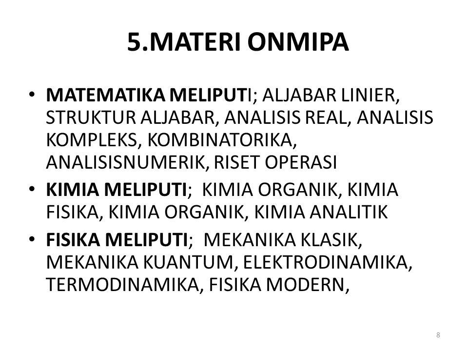 5.MATERI ONMIPA MATEMATIKA MELIPUTI; ALJABAR LINIER, STRUKTUR ALJABAR, ANALISIS REAL, ANALISIS KOMPLEKS, KOMBINATORIKA, ANALISISNUMERIK, RISET OPERASI