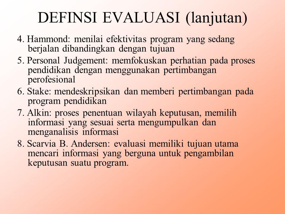 DEFINSI EVALUASI (lanjutan) 4. Hammond: menilai efektivitas program yang sedang berjalan dibandingkan dengan tujuan 5. Personal Judgement: memfokuskan