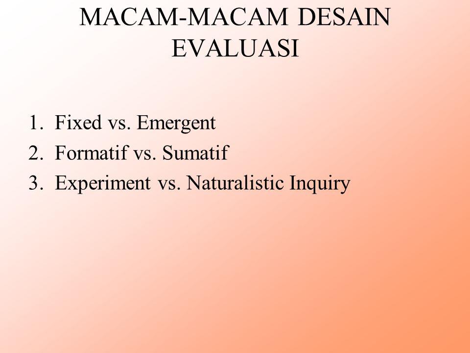 MACAM-MACAM DESAIN EVALUASI 1.Fixed vs. Emergent 2.Formatif vs. Sumatif 3.Experiment vs. Naturalistic Inquiry