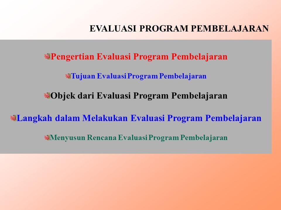 EVALUASI PROGRAM PEMBELAJARAN Pengertian Evaluasi Program Pembelajaran Tujuan Evaluasi Program Pembelajaran Objek dari Evaluasi Program Pembelajaran L