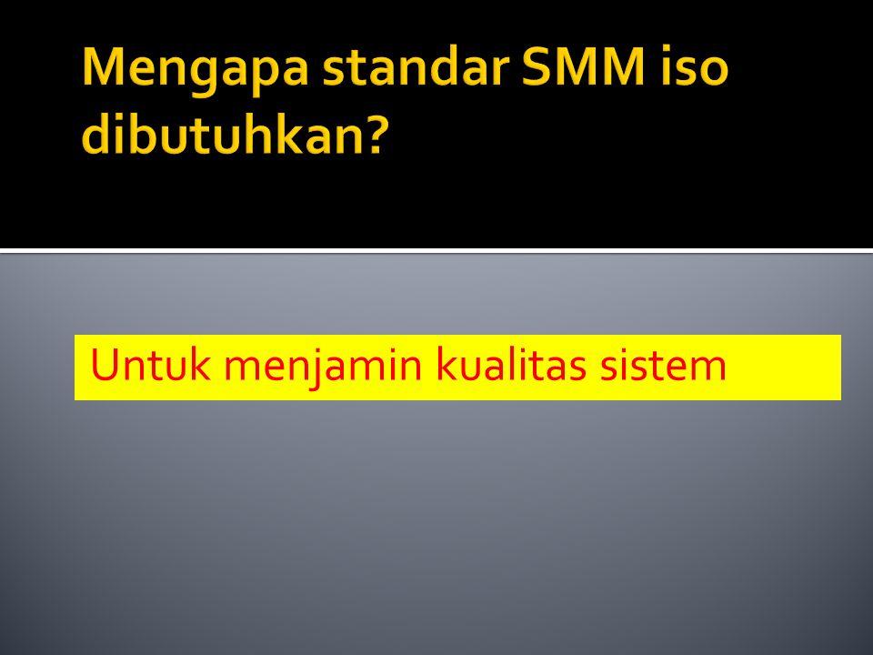 Untuk menjamin kualitas sistem