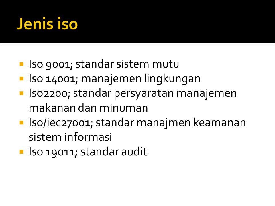  Iso 9001; standar sistem mutu  Iso 14001; manajemen lingkungan  Iso2200; standar persyaratan manajemen makanan dan minuman  Iso/iec27001; standar manajmen keamanan sistem informasi  Iso 19011; standar audit