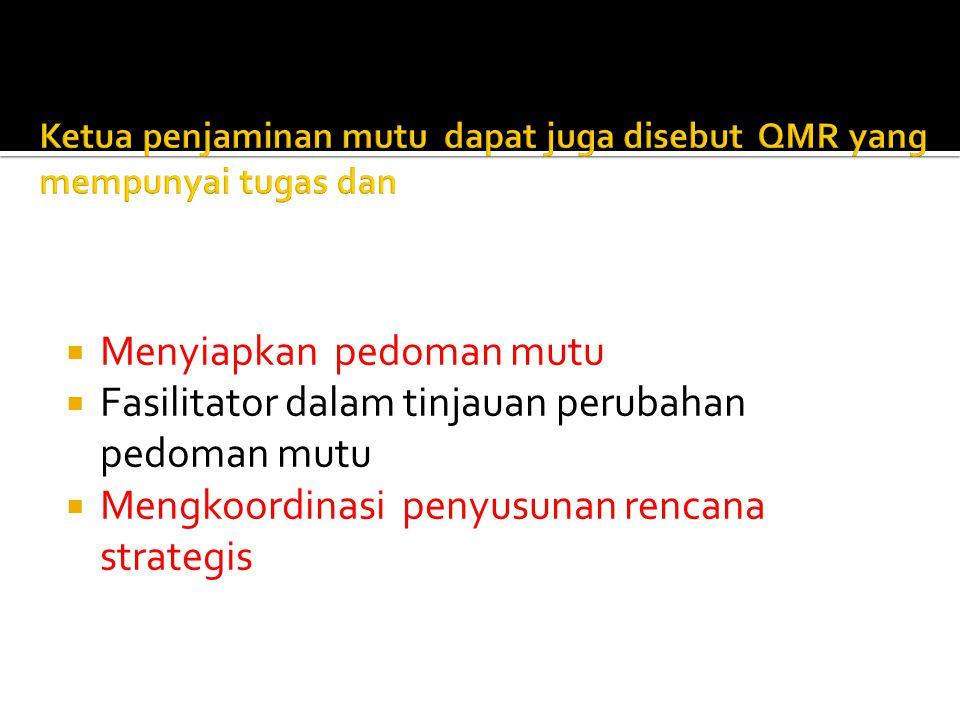  Menyiapkan pedoman mutu  Fasilitator dalam tinjauan perubahan pedoman mutu  Mengkoordinasi penyusunan rencana strategis