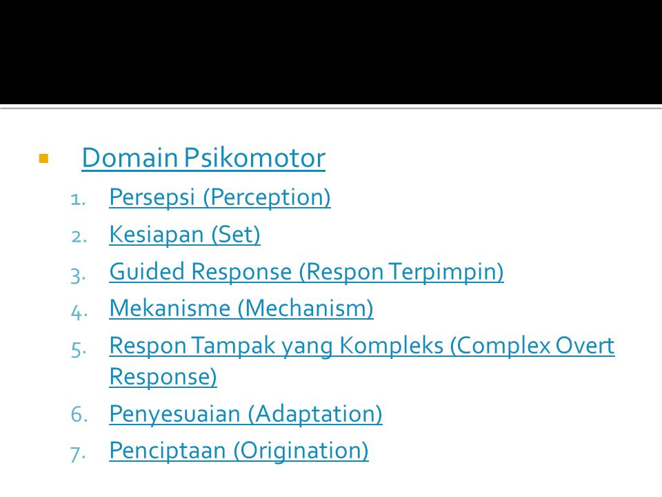 Domain Kognitif 1. Pengetahuan (Knowledge) Pengetahuan (Knowledge) 2. Pemahaman (Comprehension) Pemahaman (Comprehension) 3. Aplikasi (Application) Ap