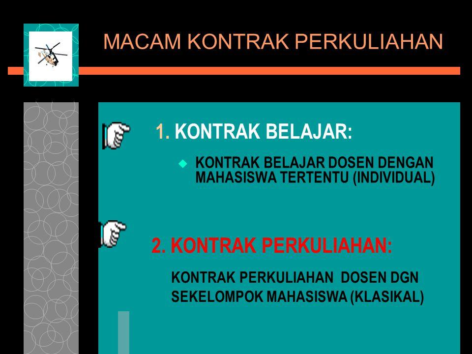 MACAM KONTRAK PERKULIAHAN  KONTRAK BELAJAR DOSEN DENGAN MAHASISWA TERTENTU (INDIVIDUAL) 1. KONTRAK BELAJAR: KONTRAK PERKULIAHAN DOSEN DGN SEKELOMPOK