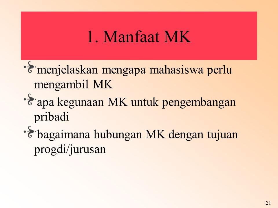 21 1. Manfaat MK menjelaskan mengapa mahasiswa perlu mengambil MK apa kegunaan MK untuk pengembangan pribadi bagaimana hubungan MK dengan tujuan progd