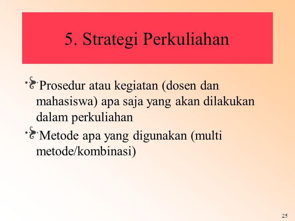 25 5. Strategi Perkuliahan Prosedur atau kegiatan (dosen dan mahasiswa) apa saja yang akan dilakukan dalam perkuliahan Metode apa yang digunakan (mult