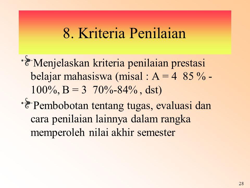 28 8. Kriteria Penilaian Menjelaskan kriteria penilaian prestasi belajar mahasiswa (misal : A = 4 85 % - 100%, B = 3 70%-84%, dst) Pembobotan tentang