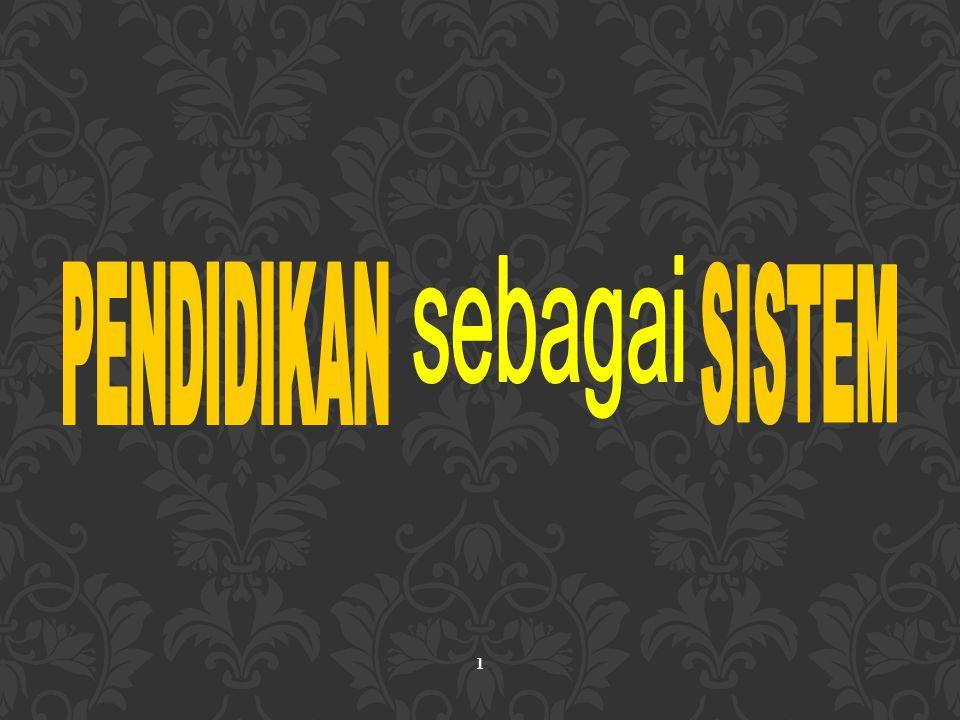 ANALISIS SISTEM PENDIDIKAN INDONESIA DLM HUBUNGANNYA DG SUPRA SISTEM Supra sistem dari sistem pendidikan nasional Indonesia adalah keseluruhan kehidupan masyarakat dalam bernegara dan berbangsa, yg men-cakup masyarakat nasional domestik sebagai lingkungan proksimal, dan masyarakat internasional sebagai lingkungan distal.
