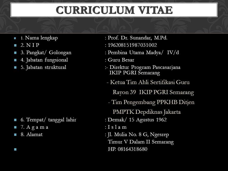 CURRICULUM VITAE 1. Nama lengkap: Prof. Dr. Sunandar, M.Pd. 1. Nama lengkap: Prof. Dr. Sunandar, M.Pd. 2. N I P: 196208151987031002 2. N I P: 19620815