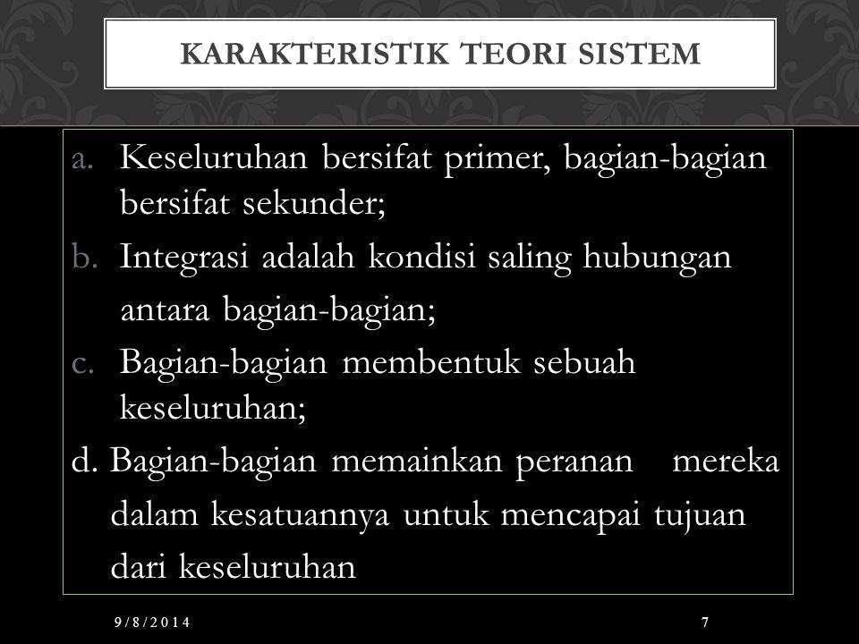 KARAKTERISTIK TEORI SISTEM a.Keseluruhan bersifat primer, bagian-bagian bersifat sekunder; b.Integrasi adalah kondisi saling hubungan antara bagian-ba