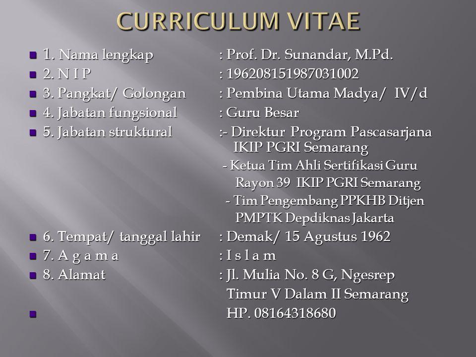 1. Nama lengkap: Prof. Dr. Sunandar, M.Pd. 1. Nama lengkap: Prof. Dr. Sunandar, M.Pd. 2. N I P: 196208151987031002 2. N I P: 196208151987031002 3. Pan