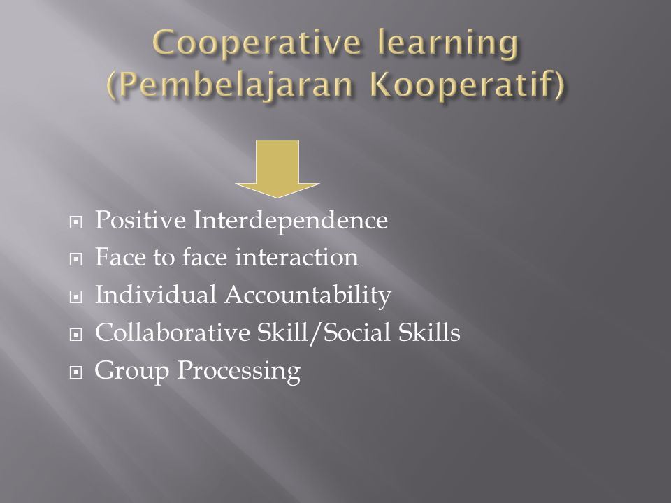  Positive Interdependence  Face to face interaction  Individual Accountability  Collaborative Skill/Social Skills  Group Processing
