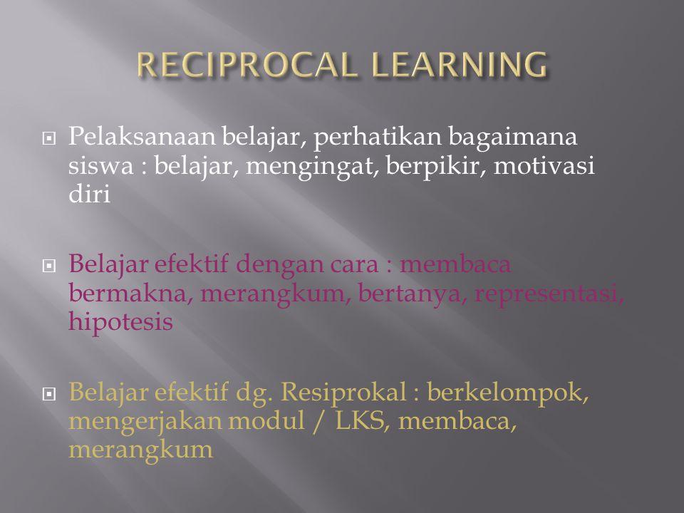  Pelaksanaan belajar, perhatikan bagaimana siswa : belajar, mengingat, berpikir, motivasi diri  Belajar efektif dengan cara : membaca bermakna, mera