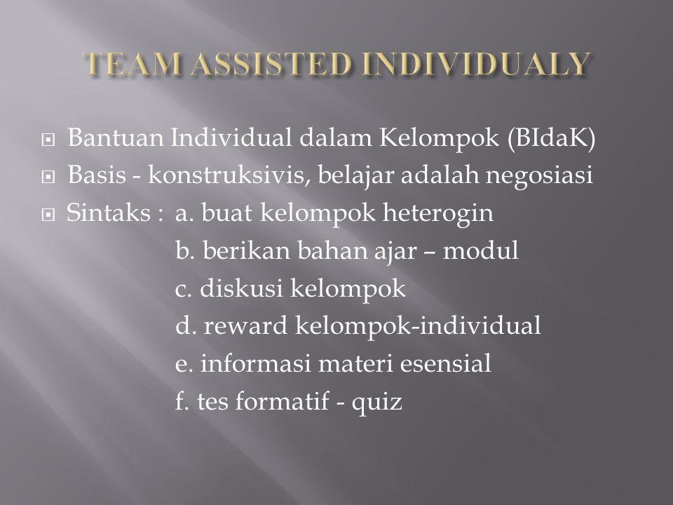  Bantuan Individual dalam Kelompok (BIdaK)  Basis - konstruksivis, belajar adalah negosiasi  Sintaks : a. buat kelompok heterogin b. berikan bahan