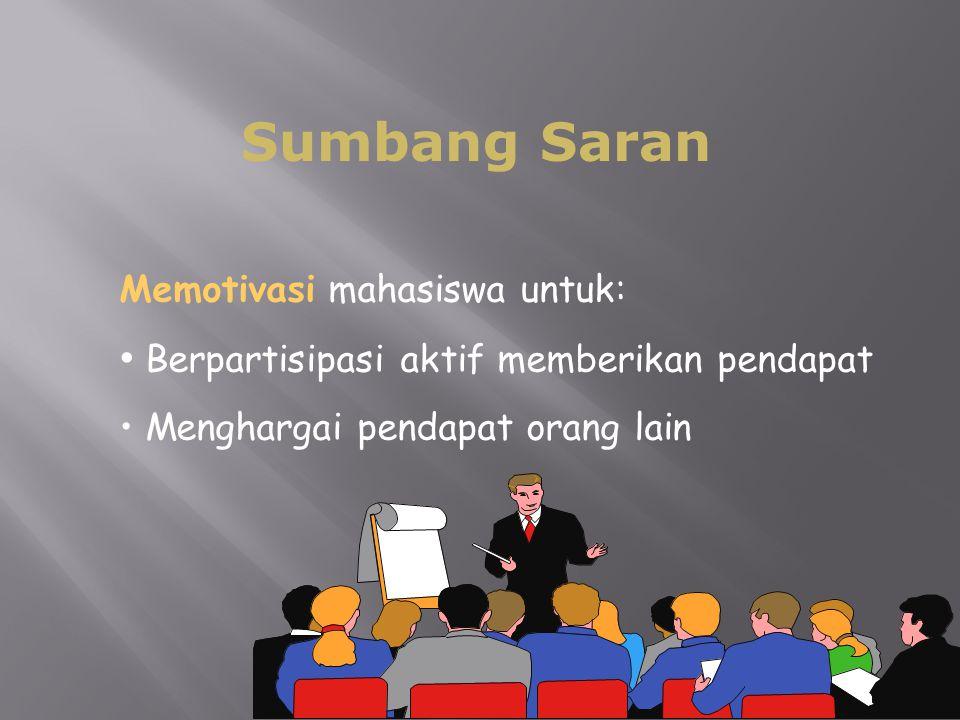 61  Sumbang Saran Memotivasi mahasiswa untuk: Berpartisipasi aktif memberikan pendapat Menghargai pendapat orang lain
