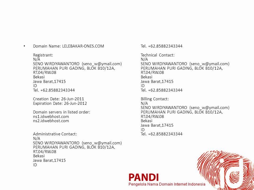 Domain Name: LELEBAKAR-ONES.COM Registrant: N/A SENO WIRDIYAWANTORO (seno_w@ymail.com) PERUMAHAN PURI GADING, BLOK B10/12A, RT.04/RW.08 Bekasi Jawa Barat,17415 ID Tel.