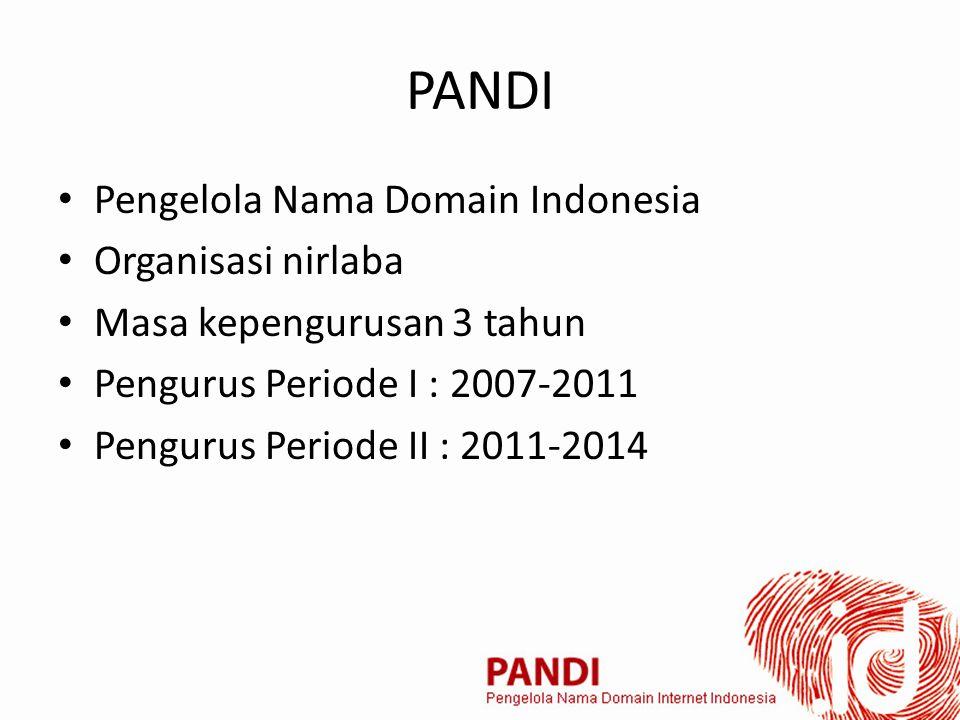 PANDI Pengelola Nama Domain Indonesia Organisasi nirlaba Masa kepengurusan 3 tahun Pengurus Periode I : 2007-2011 Pengurus Periode II : 2011-2014