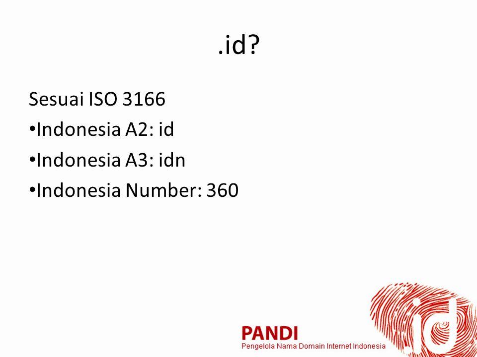 .id? Sesuai ISO 3166 Indonesia A2: id Indonesia A3: idn Indonesia Number: 360