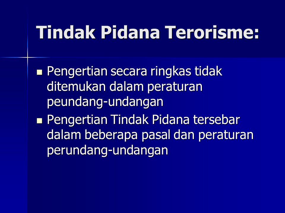 Tindak Pidana Terorisme: Pengertian secara ringkas tidak ditemukan dalam peraturan peundang-undangan Pengertian secara ringkas tidak ditemukan dalam peraturan peundang-undangan Pengertian Tindak Pidana tersebar dalam beberapa pasal dan peraturan perundang-undangan Pengertian Tindak Pidana tersebar dalam beberapa pasal dan peraturan perundang-undangan