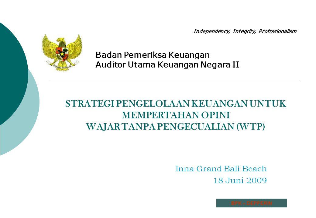 Agenda : A.Pengantar B.Opini atas LK Departemen Perindustrian Tahun 2006, 2007 dan 2008 C.Alasan Pemberian Opini WTP Tahun 2008 D.Mempertahankan Opini atas Pemeriksaan Laporan Keuangan E.Penutup