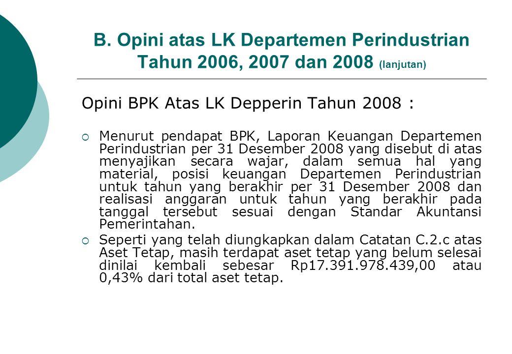 C.Alasan Pemberian Opini WTP Tahun 2008 Upaya Departemen Perindustrian : 1.
