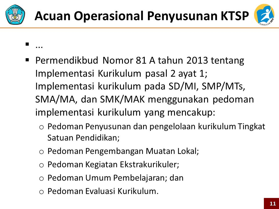Acuan Operasional Penyusunan KTSP ...  Permendikbud Nomor 81 A tahun 2013 tentang Implementasi Kurikulum pasal 2 ayat 1; Implementasi kurikulum pada