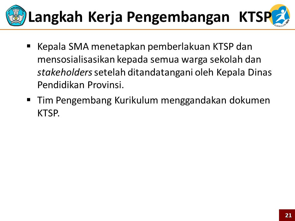 Langkah Kerja Pengembangan KTSP  Kepala SMA menetapkan pemberlakuan KTSP dan mensosialisasikan kepada semua warga sekolah dan stakeholders setelah di