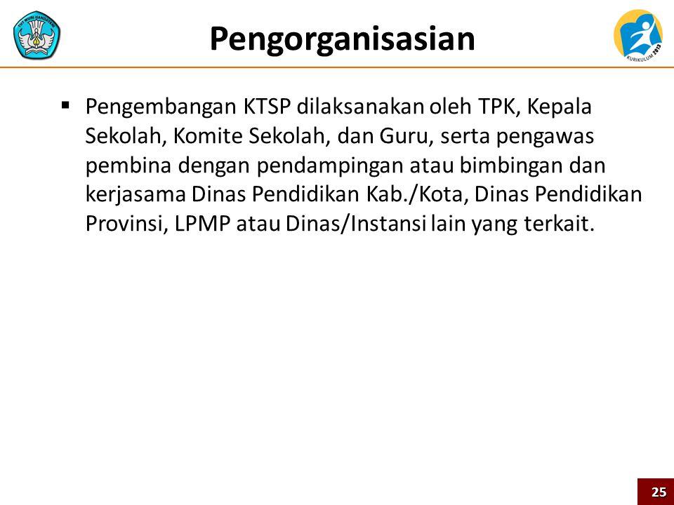 Pengorganisasian  Pengembangan KTSP dilaksanakan oleh TPK, Kepala Sekolah, Komite Sekolah, dan Guru, serta pengawas pembina dengan pendampingan atau
