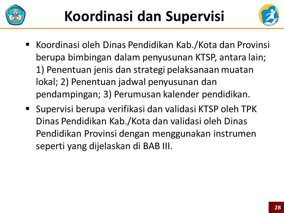 Koordinasi dan Supervisi  Koordinasi oleh Dinas Pendidikan Kab./Kota dan Provinsi berupa bimbingan dalam penyusunan KTSP, antara lain; 1) Penentuan j