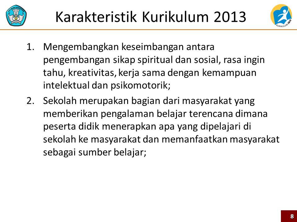 Karakteristik Kurikulum 2013 1.Mengembangkan keseimbangan antara pengembangan sikap spiritual dan sosial, rasa ingin tahu, kreativitas, kerja sama den