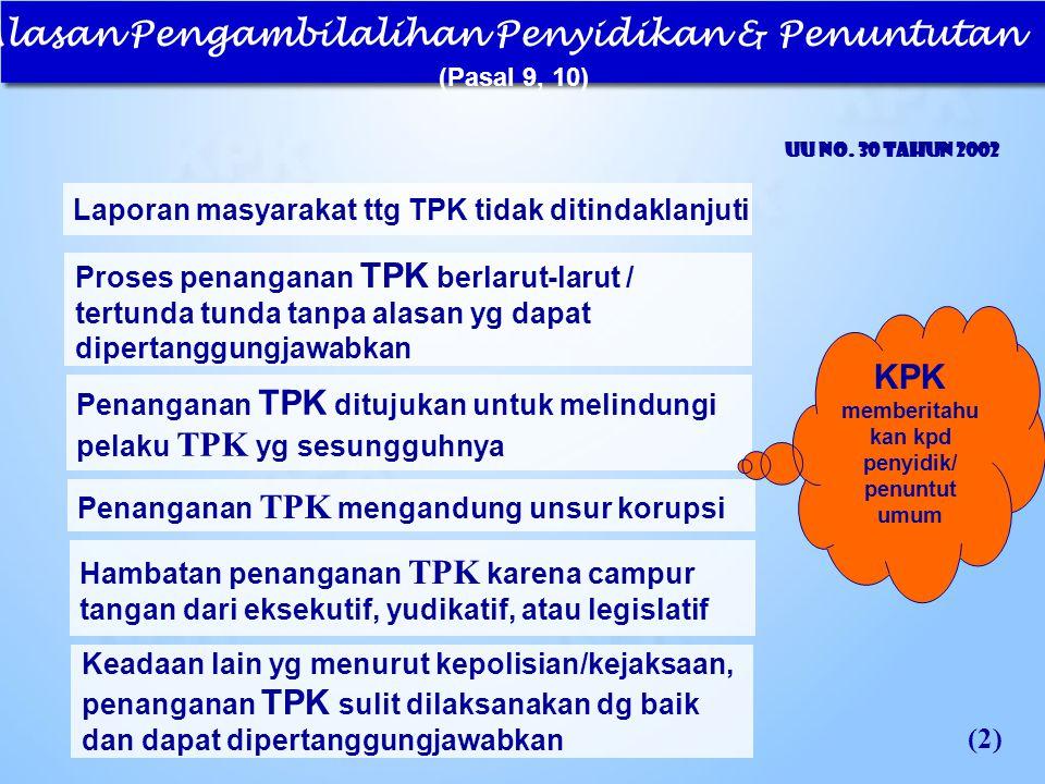 Alasan Pengambilalihan Penyidikan & Penuntutan (Pasal 9, 10) UU No. 30 Tahun 2002 Laporan masyarakat ttg TPK tidak ditindaklanjuti (2) Proses penang