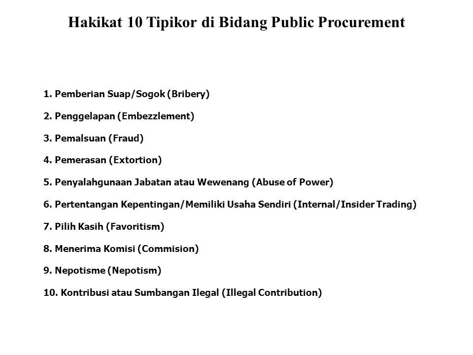 Hakikat 10 Tipikor di Bidang Public Procurement 1. Pemberian Suap/Sogok (Bribery) 2. Penggelapan (Embezzlement) 3. Pemalsuan (Fraud) 4. Pemerasan (