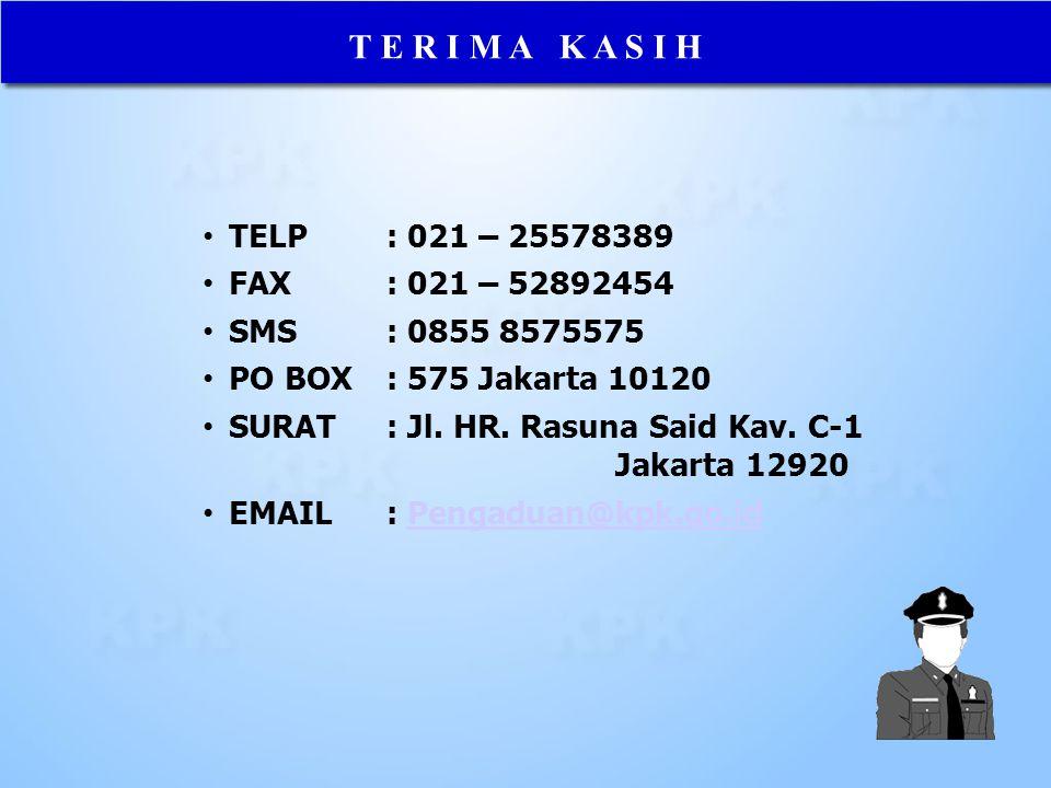 T E R I M A K A S I H TELP : 021 – 25578389 FAX: 021 – 52892454 SMS: 0855 8575575 PO BOX: 575 Jakarta 10120 SURAT: Jl. HR. Rasuna Said Kav. C-1 Jakart